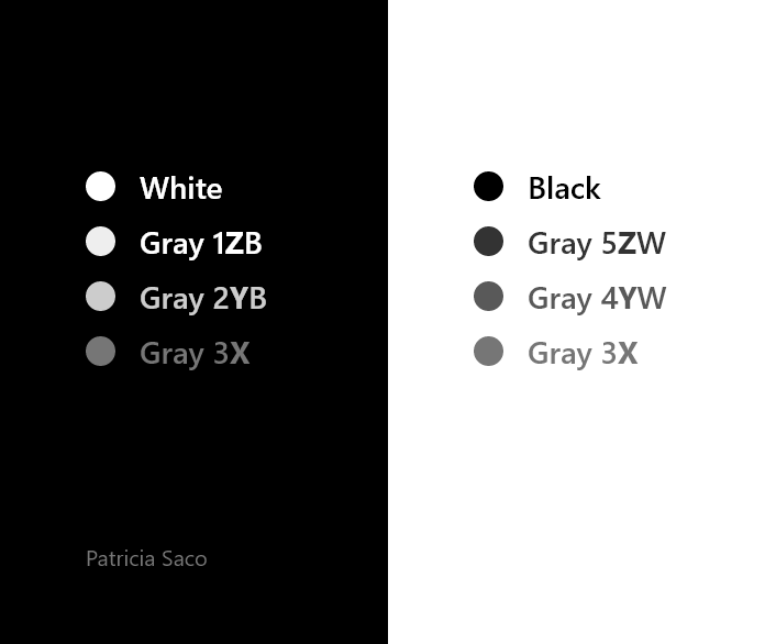 This image has an empty alt attribute; its file name is Patricia-Saco-Accesible-Grayscale-Color-Palette-Swipe.png